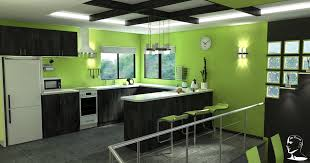 Green And White Kitchen Fascinating Black And White Kitchen In Minimalist Design With