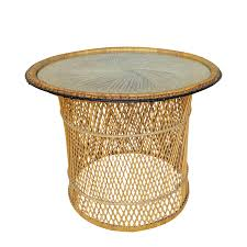 Glass Round Side Table Mcm Rattan Wicker Woven Glass Round Side Table Chairish