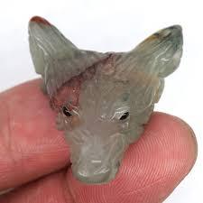 "1.8"" Carved <b>Wolf</b> Head Pendant Healing <b>Stone</b> Crystal <b>Natural Tiger</b> ..."