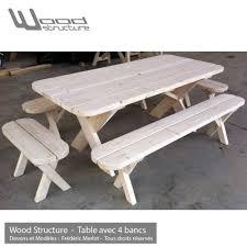 Table Pique Nique Banc Table De Jardin Wood Structure