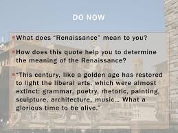 "Meaning Of Quote Mesmerizing What Does €�Renaissance"" Mean To You ς� How Does This Quote Help You"