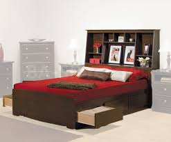 Prepac Fremont Platform Storage Bed with Bookcase Headboard in Espresso