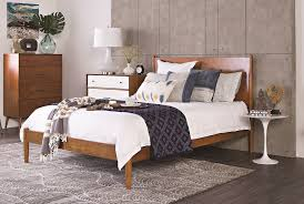 Living Spaces Bedroom Furniture Alton Cherry California King Platform Bed Living Spaces