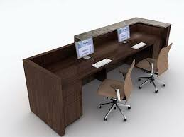 Amazing Wooden Brown Desk And Light Brown Chairs For Perfect Two Person  Office Desk Reception