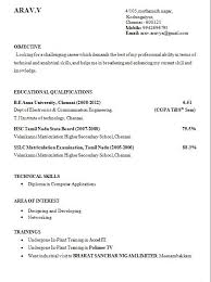Resume Writing For Engineering Students Electronics Engineering Student Resume Format For Internship