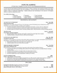 016 Undergraduate Student Cv Template Internship Resume College