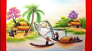 Dạy Vẽ Tranh Phong Cảnh - Cách vẽ tranh phong cảnh - Vẽ tranh đồng quê -...  | Phong cảnh, Môn nghệ thuật ở tiểu học, Nhật ký nghệ thuật