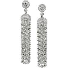 18k white gold 6ct tdw diamond chandelier earrings g h si 18k white gold 6ct tdw diamond chandelier earrings