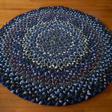 daring blue braided rug wool 1308 round in blues handcrafted art traditions