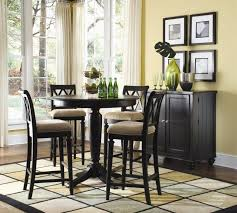 ... Simple And Neat Picture Of Small Dining Room Decoration Using Round  Black Wood Pedestal Small Kitchen Bar Table Including Black Wood Tall Dining  Chair ...