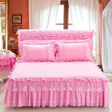 princess lace pink purple beige girls bed skirt full queen king size bedspread pillowcase home decorative blue dust ruffles for beds from improvement loans
