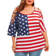 Womens Plus Size Tops 4th Of July American Off Shoulder Stripes Flag Print Blouse Hollow Out Sleeve T Shirt L 5xl