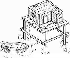 Gekleurde Huis Aan De Zee Met Boot Huizen Coloring Een Huisje Op