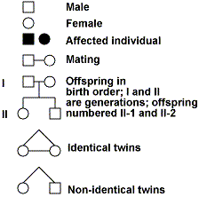 Genetic Pedigree Chart Symbols Mendelian Genetics