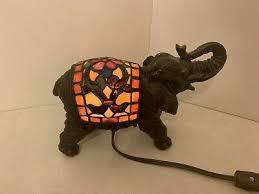 tiffany quoizel stained glass elephant lamp night light eyes light up