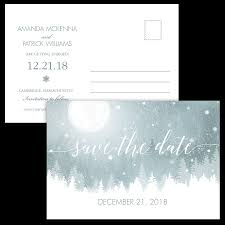 Winter Wedding Save The Date Rustic Winter Save The Date Blue Snowflake Postcard