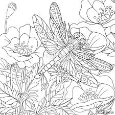 Small Picture Vector Zentangle stylized cartoon dragonfly insect is flying
