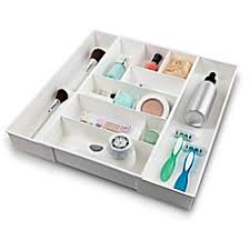 image of Expandable Plastic Cosmetic Drawer Organizer in White