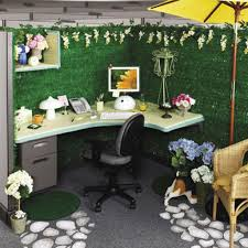 Home Office Ideas:Fresh Office Decor With Flower Green Theme Cubicle Office  Table Idea
