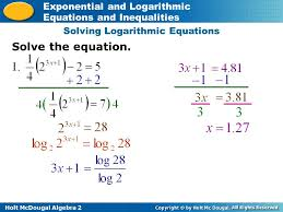 how do we solve exponential and logarithmic equations