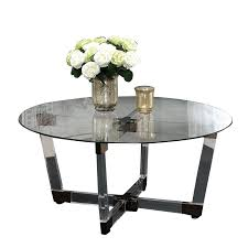 coaster round glass top coffee table in chocolate chrome