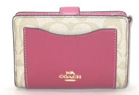 Coach Medium Corner Zip Logo Color Block Light Khaki Multi Pink Wallet  F27147