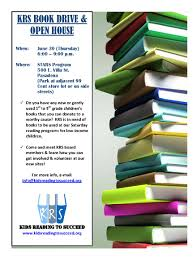 join krs at our 1st book drive open house june 30th