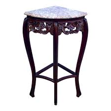 Corner tables furniture Antique Vintage French Style Pink Marble Rosewood Quarter Round Corner Table For Sale Chairish Vintage French Style Pink Marble Rosewood Quarter Round Corner