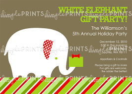 white elephant gift invitation. Contemporary Elephant White Elephant Printable Holiday Party Invitation Throughout Gift