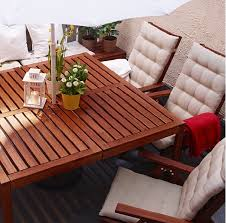 ikea solid acacia applaro outdoor dining table and reclining chair chair