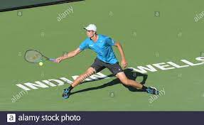 Hubert Hurkacz (POL) wird von Grigor Dimitrov (BUL) 6-3, 4-6, 6-7 (2-7) bei  den BNP Paribas Open besiegt, die am 14. Oktober 2021 im Indian Wells  Tennis Garden in Indian Wells, Kalifornien,