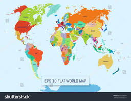 Flat World Map Divided Into Editable Stock Vector Royalty Free