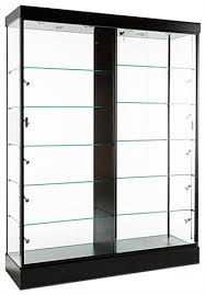glass cabinets sit on wheels for easy