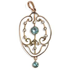 charm of the belle Époque filigree aquamarine natural pearl pendant in gold england