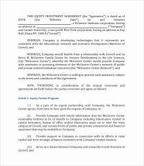 Investment Agreement Templates Capital Raising Agreement Template Investors Contract Agreement