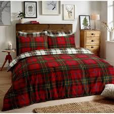 brushed cotton reversible flannel duvet quilt cover tartan check red single 264598 p5533 15260 image jpg