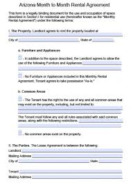 free lease agreement word doc arizona rental lease agreement form free arizona month to month