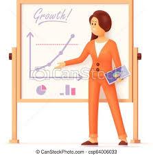 Free Standing Flip Chart Businesswoman Showing Presentation Charts