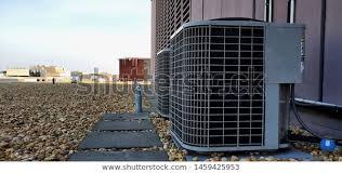 Hvac Ac Compressor Coil Outside Installation Stock Photo