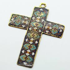 antique renaissance cross pendant cloisonne enamel in victorian gold case 6165