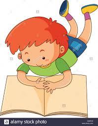 happy boy reading book ilration stock vector