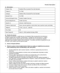 Sample Medical Assistant Job Description 8 Examples In Pdf