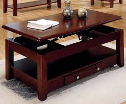 brown rectangle rustic lift top cherry wood coffee table with shelf and storage drawer designs ideas