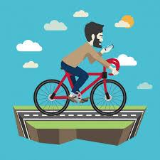 サイクリングhypsterフラットイラスト   無料のベクター