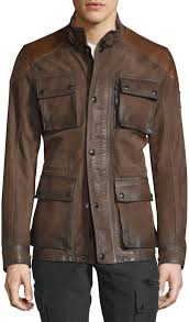 belstaff trialmaster calfskin leather jacket oak brown 2 295 neiman marcus lookastic com