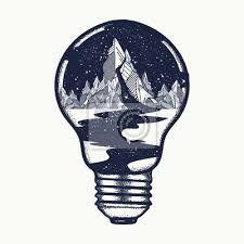 Plakát Hory V žárovka Tetování Symbol Cestování Turistika