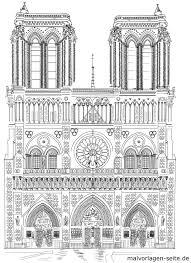 Kleurplaat Notre Dame Paris Toerisme Aantreklikhede