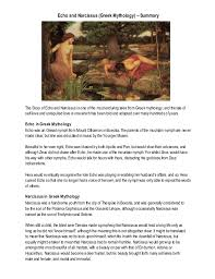 echo and narcissus greek mythology summary echo and narcissus greek mythology summary the story ofecho and narcissus is one