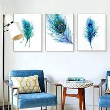peacock wall decor beautiful blue feather poster living room art carved