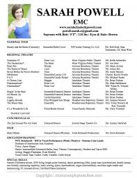 Acting Resume Template Samplectordvice Tips Download Musical Theatre